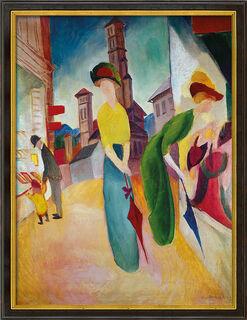 """Bild """"Vor dem Hutladen"""" (1913), gerahmt"""