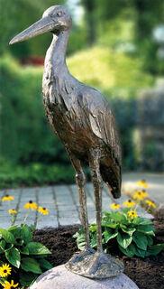 """Gartenskulptur """"Storch"""" (ohne Stein), Bronze"""
