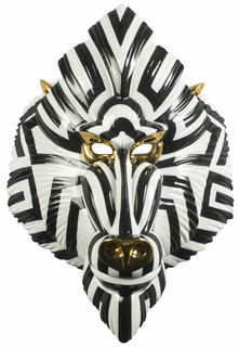 "Wandobjekt ""Mandrill Mask Black and Gold"", Porzellan"