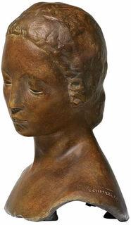 "Büste ""Gesenkter Frauenkopf"" (1910), Version in Bronze"