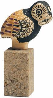 """Skulptur """"Griechische Eule"""" auf Steinsockel, handbemalt"""