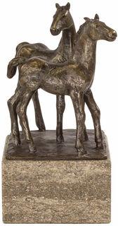 """Skulptur """"Pferdepaar"""", Steinguss bronziert"""