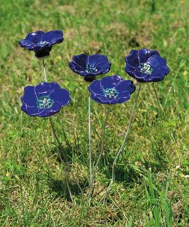 """Gartenstecker-Blumenset """"Blaue Blüten"""", 5-teilige Keramik"""