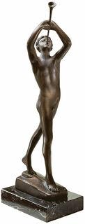 """Skulptur """"Der Flötenbläser"""", Metallguss"""