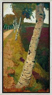 """Bild """"Landstraße mit Birken"""" (um 1901), gerahmt"""