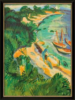 """Bild """"Fehmarnbucht mit Booten"""" (1913), gerahmt"""