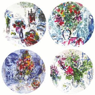 """Kollektion """"Les Bouquets de fleurs"""" von Bernardaud - Set von 4 Tellern mit Künstlermotiven, Porzellan"""