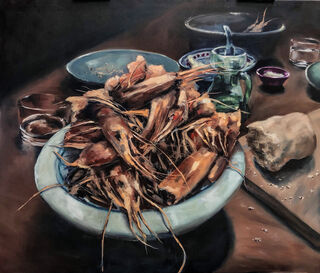 """Bild """"Dinner for one: Party is over (Fingerfood)"""" (2021) (Unikat)"""