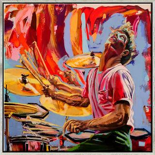 "Bild ""Drummer in Motion - Bill Bruford"" (2018) (Original / Unikat), gerahmt"