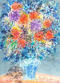 """Bild """"Blumenstrauß in blauer Vase"""" (2016-2018) (Original / Unikat), ungerahmt"""