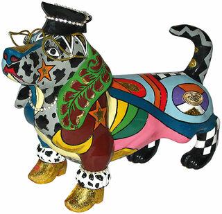 "Skulptur ""Hund Mr. Beasley"", Kunstguss"