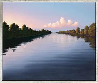 """Bild """"Abendlicher Fluss"""", gerahmt"""