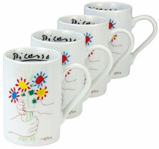 """4 Espressotassen """"Hände mit Blumenstrauß"""" im Set, Porzellan"""