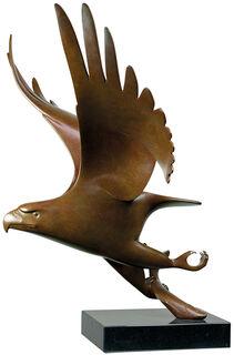 """Skulptur """"Raubvogel mit Fisch Nr. 1"""", Bronze braun"""