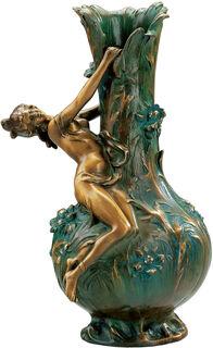 """Vase """"Marguerites"""", Version in Bronze (antikgrün)"""