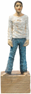 "Skulptur ""Mann"", Kunstguss Holzfinish"