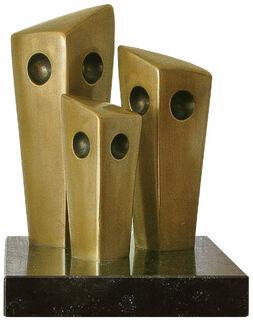 """Skulptur """"Eulenfamilie"""", Version in Bronze"""