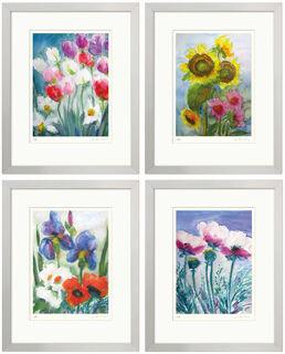 4 Blumenbilder im Set, gerahmt