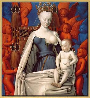 """Bild """"Madonna umgeben von Cherubim und Seraphim"""" (um 1450), Version goldfarben gerahmt"""