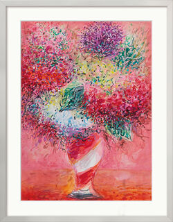 "Bild ""Blumen in gestreifter Vase"" (2018-2020) (Original / Unikat), gerahmt"