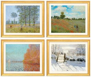 4 Landschaftsbilder im Set, Version goldfarben gerahmt