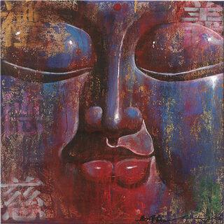"""Bild """"Kleiner Buddha, blau"""", auf Keilrahmen"""