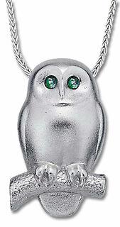 "Collier ""Smaragd-Eule"", Version Silber"