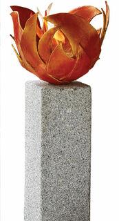 Rote Feuerschale (Version mit Granitstele)