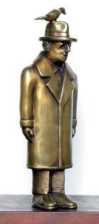 """Skulptur """"Der Mann mit dem Vogel"""", Bronze"""
