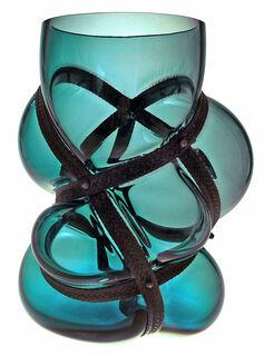 "Vase ""Fire Blue"", Glas/Metall"