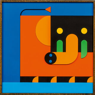 "Bild ""ELEFANT MAMA orange/blau"" (2020)"