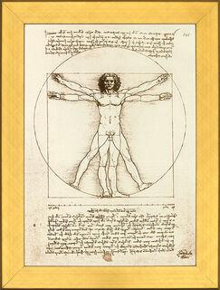 """Bild """"Proportionsschema der menschlichen Gestalt nach Vitruv"""", gerahmt"""