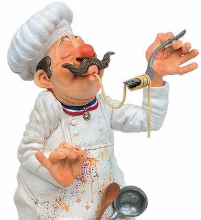 "Karikatur ""Chef du cuisine - Der Meisterkoch"", Kunstguss handbemalt"