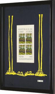 """Bild """"Vapor - Der Dampfer von Kap Verde"""". Sonderausgabe mit 4 Briefmarken à 50 Escudos, gelb"""