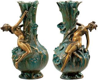 """2 Vasen """"Marguerites"""" und """"Coquelicot"""" im Set, Version in Bronze (antikgrün)"""