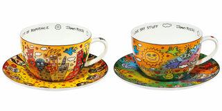 2 Cappuccinotassen mit Künstlermotiven im Set, Porzellan