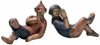 """2 Skulpturen """"Max und Moritz, Lausbuben von heute"""" (2012) im Set, Bronze"""