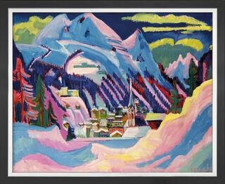 """Bild """"Davos im Winter"""" (1923), Version schwarz-silberfarben gerahmt"""