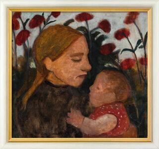 """Bild """"Junge Frau mit dem Kind"""" (1902), gerahmt"""