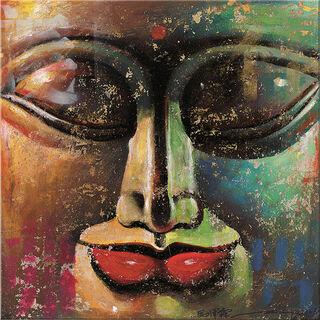 """Bild """"Kleiner Buddha, gold-grün"""", auf Keilrahmen"""