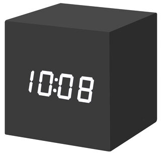 """LED-Tischuhr """"Color Cube schwarz"""" mit Alarmfunktion - MoMA Kollektion - Design Natalie Sun"""