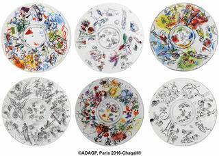 Kollektion Marc Chagall von Bernardaud - Set von 6 Salattellern mit Künstlermotiven, Porzellan