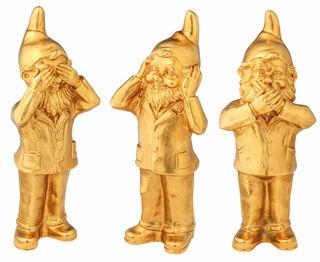 """3 Skulpturen """"Geheimnisträger - Nichts sehen, nichts hören und nichts sagen"""" im Set, Version vergoldet"""