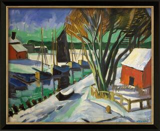 """Bild """"Am Strom im Winter (Leba)"""" (1922), Version schwarz gerahmt"""