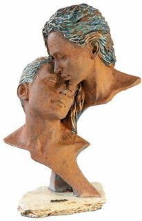 """Skulptur """"Zeit zu zweit"""", Kunstguss Steinoptik"""