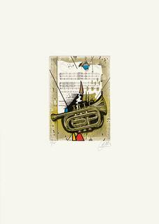 """Bild """"Trompete"""" (1989), ungerahmt"""