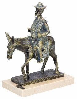 """Skulptur """"Sancho Panza en Burro"""", Kunstguss Steinoptik"""
