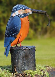 """Gartenfigur """"Eisvogel mit Fisch"""""""