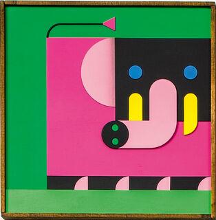 """Bild """"ELEFANT MAMA pink/grün"""" (2020)"""