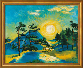 """Bild """"Aufgehende Sonne"""" (1933), Version goldfarben gerahmt"""